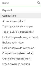 Add filter - Google Keyword Planner