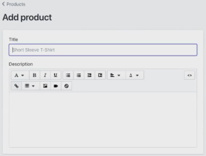 Add Product Title, Add Product Description