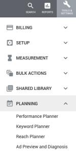 AdWords Menu - Tools & Settings - Planning