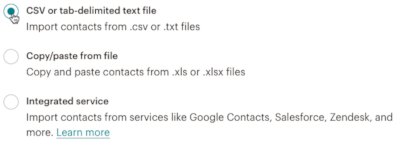 CSV or text delimited text file (Mailchimp)