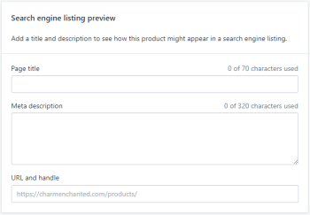 search engine listing (Shopify)