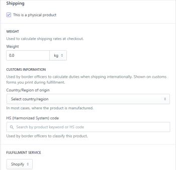 Setup Shipping Information